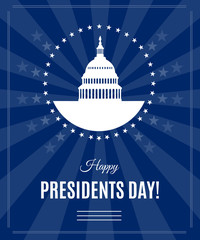 Presidents Day greeting banner with Washington DC White house and Capitol building arounded stars isolated on dark rays background. USA landmark. Vector illustration © karachenkov