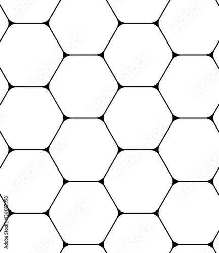 Seamless pattern with hexagons. Black and white geometric background.  - 136047998