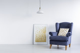 Bright interior with modern poster