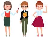 Set of vector cartoon teacher in different poses