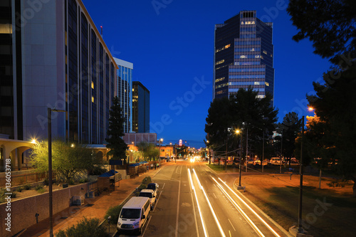 Poster Arizona Tucson city center at night with traffic