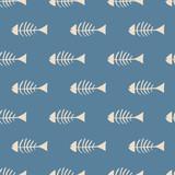 seamless fish bone pattern - 136057586