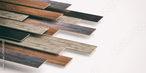 Laminate floor on white background. 3d illustration - 136061939