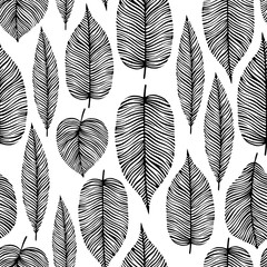 Seamless pattern with decorative leaves.