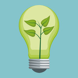 ecology bulb energy with leaves vector illustration eps 10