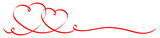 2 Connected Red Calligraphy Hearts Ribbon Banner - 136070783