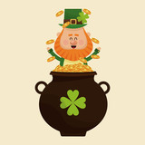 leprechaun happy tossing gold pot vector illustration eps 10