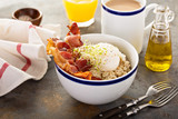 Savory oatmeal porridge with egg and bacon