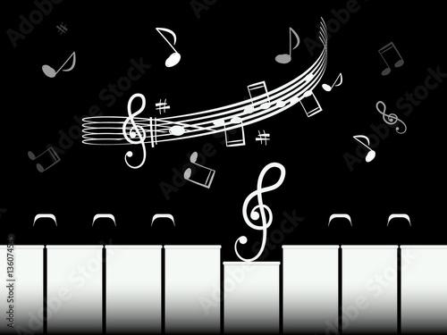 teclas-del-piano-con-baston-y-notas-ilustracion-de-vector-retro-blanco-y-negro