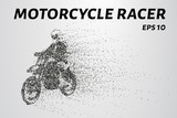 Fototapety Motorcycle of the particles. A silhouette of a motorcycle racer consists of circles and points. Vector illustration