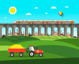 Countryside. Vector Nature Landscape with Tractor, Bridge and Train.