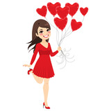 Beautiful brunette girl holding heart balloons celebrating Saint Valentine day wearing short red dress