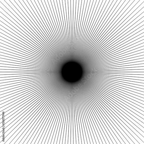 Radial thin lines burst element. Starburst, sunburst, flash shap - 136077944