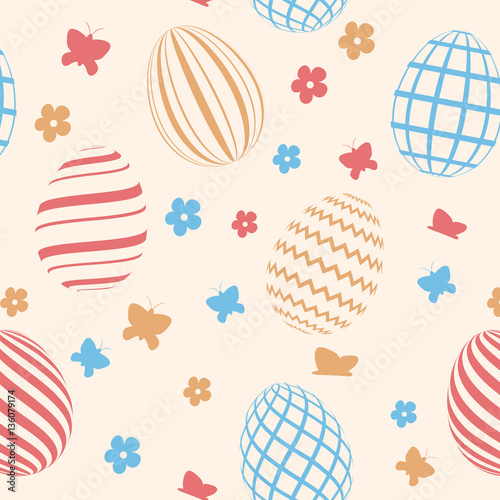 Cotton fabric Seamless pattern with easter eggs. Easter background. Vector illustration