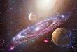 Spiral galaxy and planet in outer space - 136079537