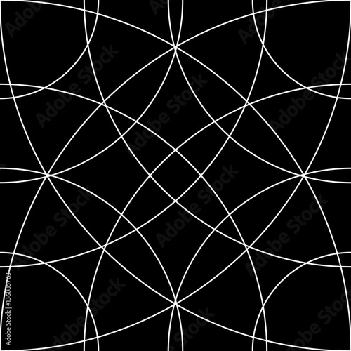 Cellular grid, mesh pattern with circles from center (Repeatable - 136085763
