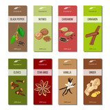 Essential oil labels collection. Nutmeg, cardamom, star anise, Cloves, cinnamon, ginger, vanilla, black pepper - 136087369