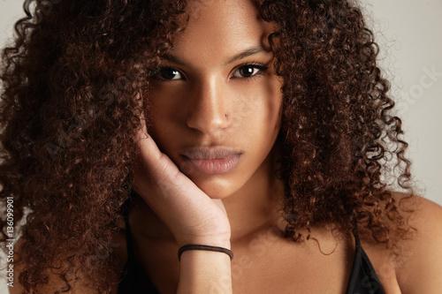 closeup black woman's portrait Poster