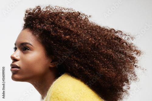 black woman's portrait showing her beauty curly afro hair Slika na platnu