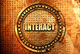 interact, 3D rendering, text on metal