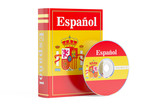 Spanish book with flag of Spain and CD disk, 3D rendering