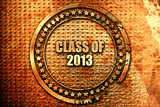 class of 2013, 3D rendering, text on metal