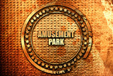 amusement park, 3D rendering, text on metal