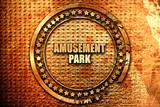 amusement park, 3D rendering, text on metal