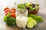 Homemade ranch dressing in a mason jar