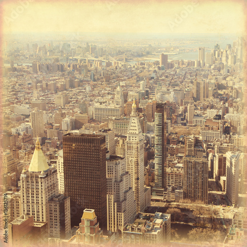 New York City Manhattan skyline. Grunge and retro style.