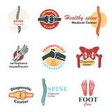 Orthopedics and traumatology emblem set design