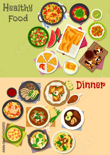 Lunch and dinner dishes icon set for food design - 136128112