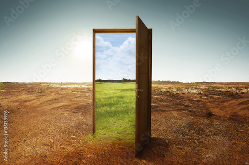Open wooden door to the new world with green environment