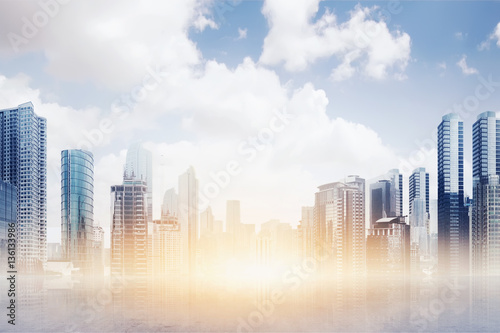 Poster Transparent floor with modern building and skyscraper