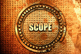 scope, 3D rendering, text on metal