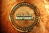 scheduled maintenance, 3D rendering, text on metal