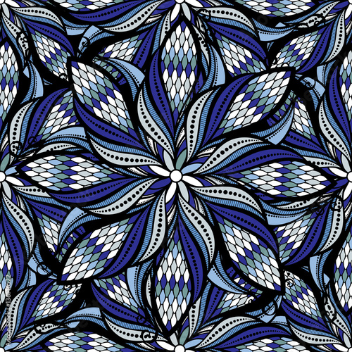 Cotton fabric Seamless vector vintage hand drawn mandala pattern.Vector