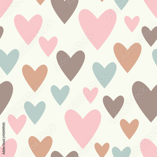 Seamless vector background with decorative hearts. Valentine's day. Print. Cloth design, wallpaper. - 136149565