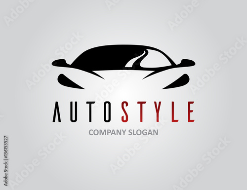 Auto style car logo design with concept sports vehicle icon silhouette on light grey background. Vector illustration. - 136153527