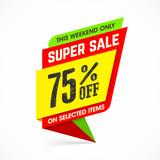 Super sale weekend special offer banner vector illustration
