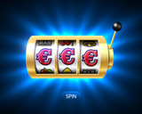 Slot machine with euro jackpot on bright background