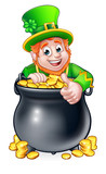 Cartoon St Patricks Day Leprechaun and Pot of Gold