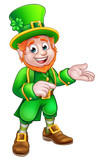 Cartoon St Patricks Day Leprechaun Pointing