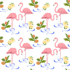 Seamless pattern with a pair of flamingos and tropical plants