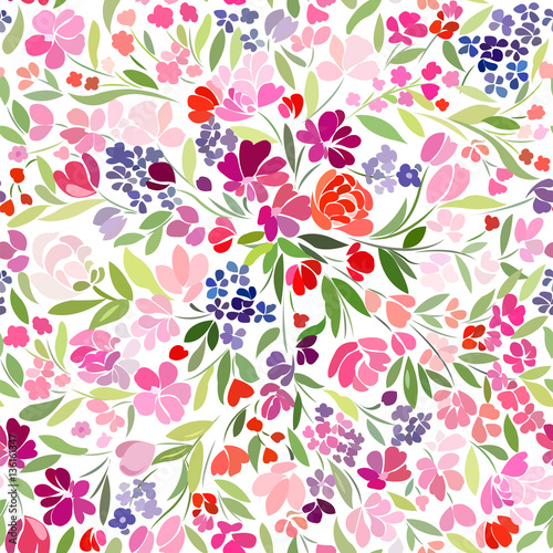Cotton fabric bright floral carpet