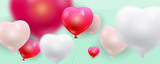 Vector realistic balloons in shape of hearts flying over blue background, wide illustration. Valentines Day conceptual elements.  - 136162347
