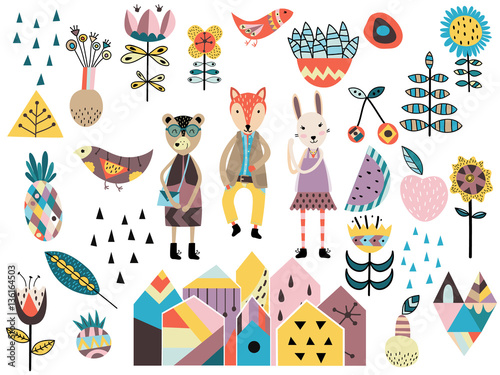 Cotton fabric Set of cute scandinavian style elements and animals.