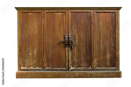 Poster Vintage : The old wooden wall cabinet with white background