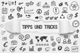 Tipps und Tricks / weißes Papier mit Symbole