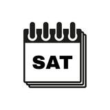 Saturday icon. Sat and calendar, data symbol. Flat design. Stock - Vector illustration